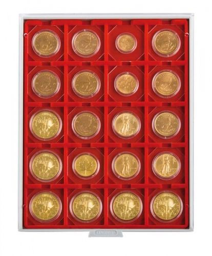 Lindner Coin box 20 compartments each 50mm